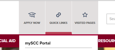 Use Quick Links to quickly access St. Charles Community College portal, mySCC